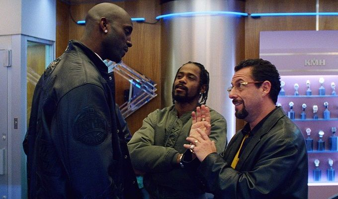 Kevin Garnett and Lakeith Stanfield and Adam Sandler in Uncut Gems