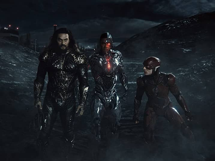 Jason Momoa, Ezra Miller, and Ray Fisher in Zack Snyder's Justice League